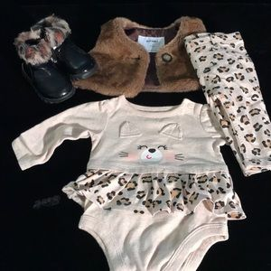 Three piece leopard baby pants set w/ boots.